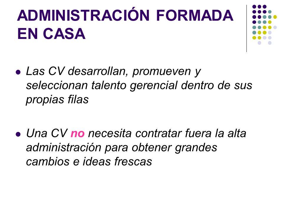 ADMINISTRACIÓN FORMADA EN CASA Las CV desarrollan, promueven y seleccionan talento gerencial dentro de sus propias filas Una CV no necesita contratar