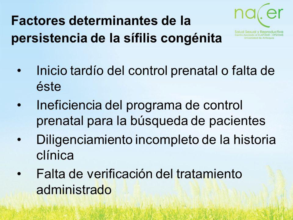 Factores determinantes de la persistencia de la sífilis congénita Inicio tardío del control prenatal o falta de éste Ineficiencia del programa de cont