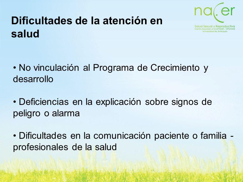 No vinculación al Programa de Crecimiento y desarrollo Deficiencias en la explicación sobre signos de peligro o alarma Dificultades en la comunicación