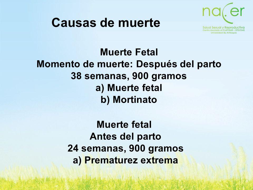 Causas de muerte Muerte fetal Antes del parto 24 semanas, 900 gramos a) Prematurez extrema Muerte Fetal Momento de muerte: Después del parto 38 semana
