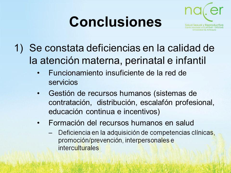 1)Se constata deficiencias en la calidad de la atención materna, perinatal e infantil Funcionamiento insuficiente de la red de servicios Gestión de re