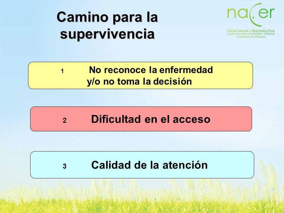 Camino para la supervivencia 1 No reconoce la enfermedad y/o no toma la decisión 2 Dificultad en el acceso 3 Calidad de la atención