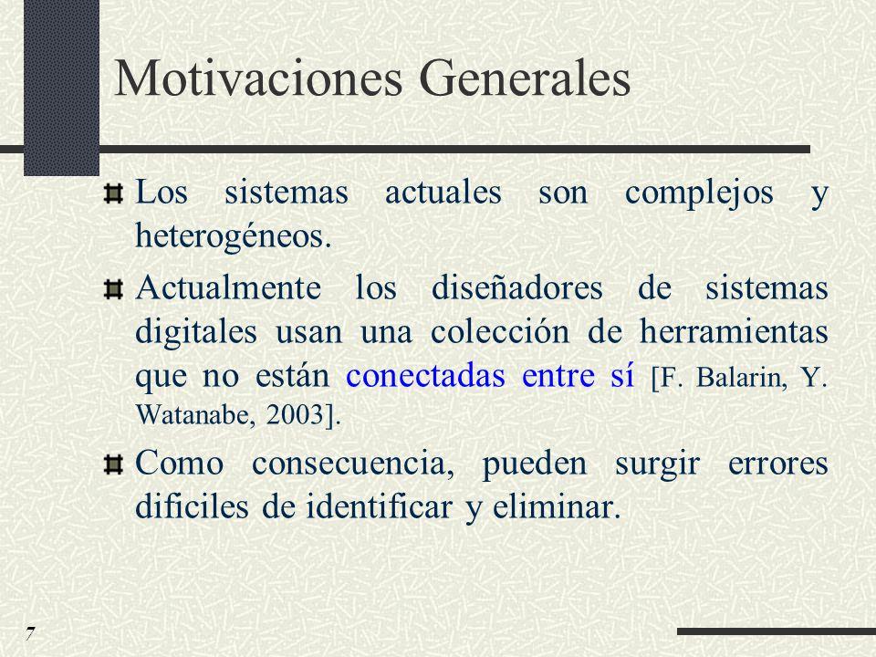 Motivaciones Generales Los sistemas actuales son complejos y heterogéneos. Actualmente los diseñadores de sistemas digitales usan una colección de her