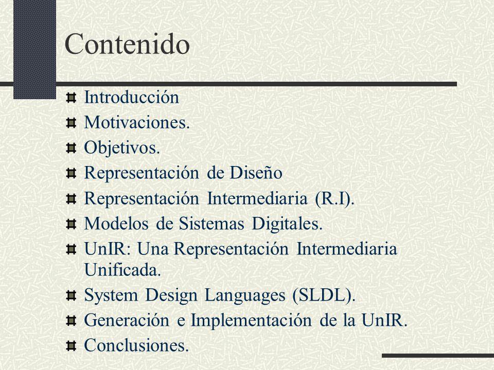 Contenido Introducción Motivaciones. Objetivos. Representación de Diseño Representación Intermediaria (R.I). Modelos de Sistemas Digitales. UnIR: Una