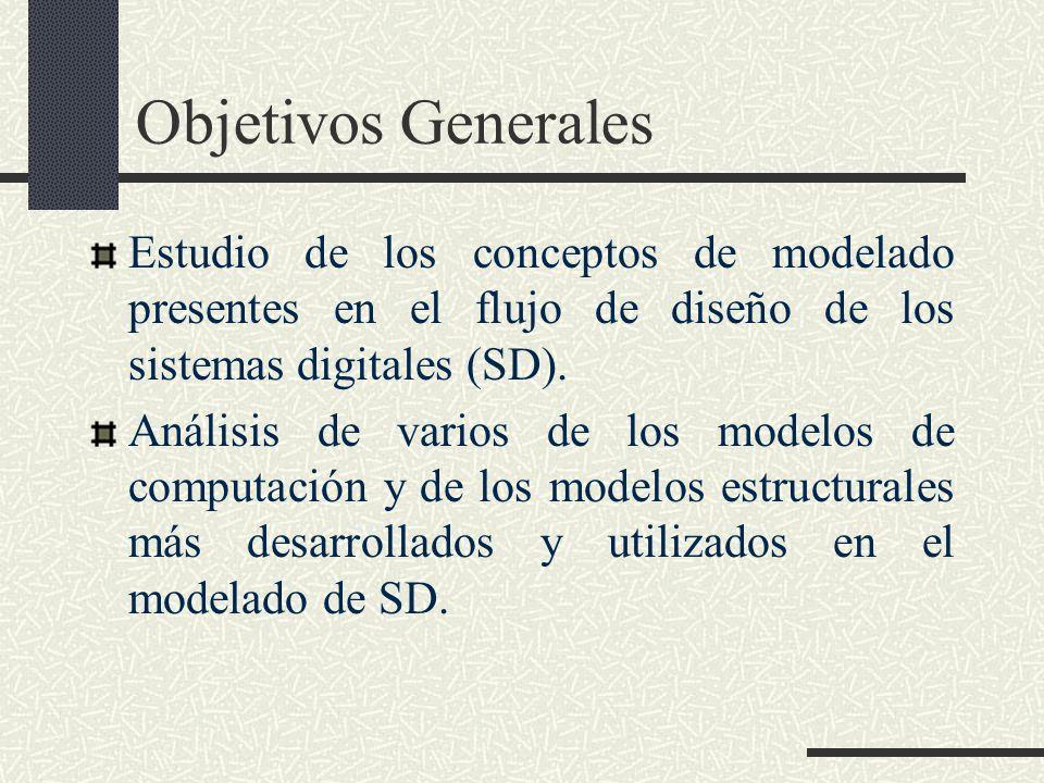 Objetivos Generales Estudio de los conceptos de modelado presentes en el flujo de diseño de los sistemas digitales (SD). Análisis de varios de los mod