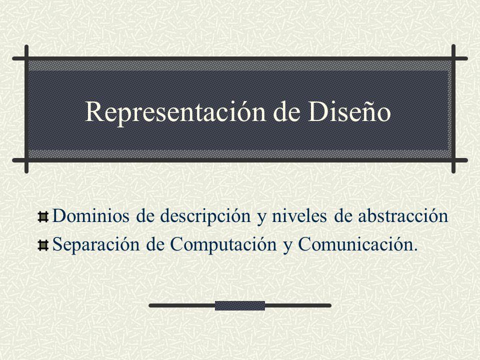 Representación de Diseño Dominios de descripción y niveles de abstracción Separación de Computación y Comunicación.