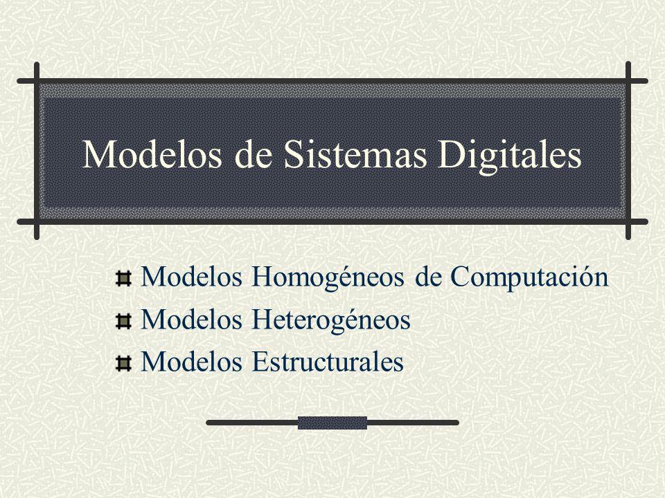 Modelos de Sistemas Digitales Modelos Homogéneos de Computación Modelos Heterogéneos Modelos Estructurales