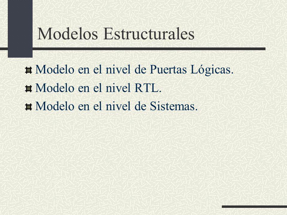 Modelos Estructurales Modelo en el nivel de Puertas Lógicas. Modelo en el nivel RTL. Modelo en el nivel de Sistemas.