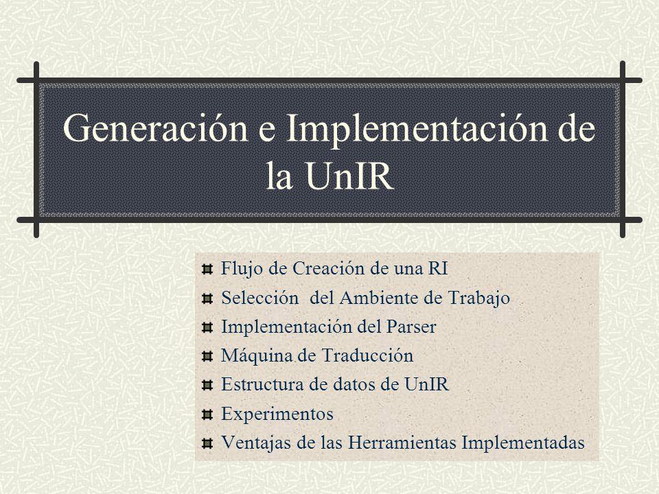 Generación e Implementación de la UnIR Flujo de Creación de una RI Selección del Ambiente de Trabajo Implementación del Parser Máquina de Traducción E