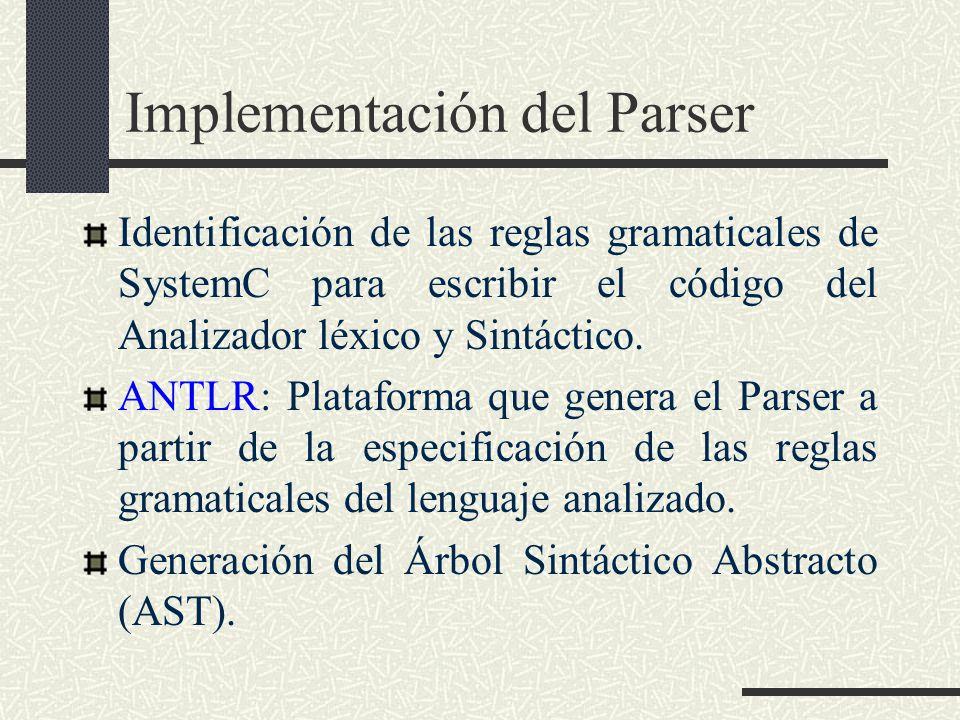 Implementación del Parser Identificación de las reglas gramaticales de SystemC para escribir el código del Analizador léxico y Sintáctico. ANTLR: Plat