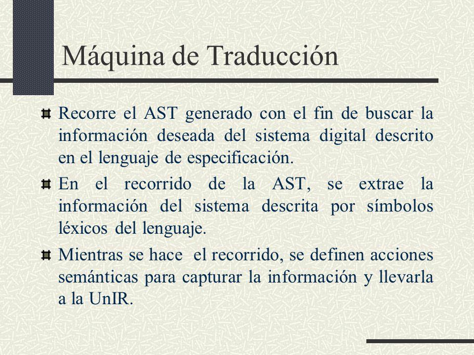 Máquina de Traducción Recorre el AST generado con el fin de buscar la información deseada del sistema digital descrito en el lenguaje de especificació