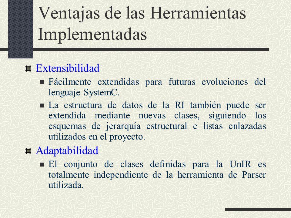 Ventajas de las Herramientas Implementadas Extensibilidad Fácilmente extendidas para futuras evoluciones del lenguaje SystemC. La estructura de datos