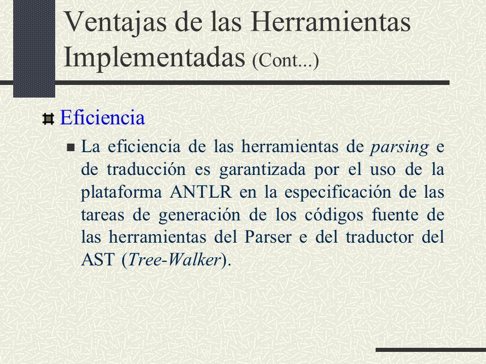 Ventajas de las Herramientas Implementadas (Cont...) Eficiencia La eficiencia de las herramientas de parsing e de traducción es garantizada por el uso