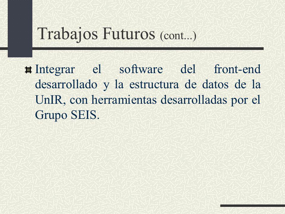 Trabajos Futuros (cont...) Integrar el software del front-end desarrollado y la estructura de datos de la UnIR, con herramientas desarrolladas por el