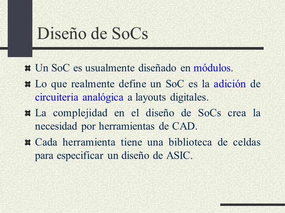 Diseño de SoCs Un SoC es usualmente diseñado en módulos. Lo que realmente define un SoC es la adición de circuiteria analógica a layouts digitales. La