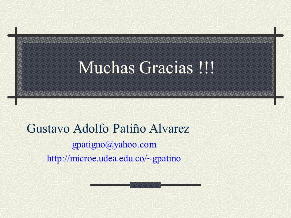 Muchas Gracias !!! Gustavo Adolfo Patiño Alvarez gpatigno@yahoo.com http://microe.udea.edu.co/~gpatino