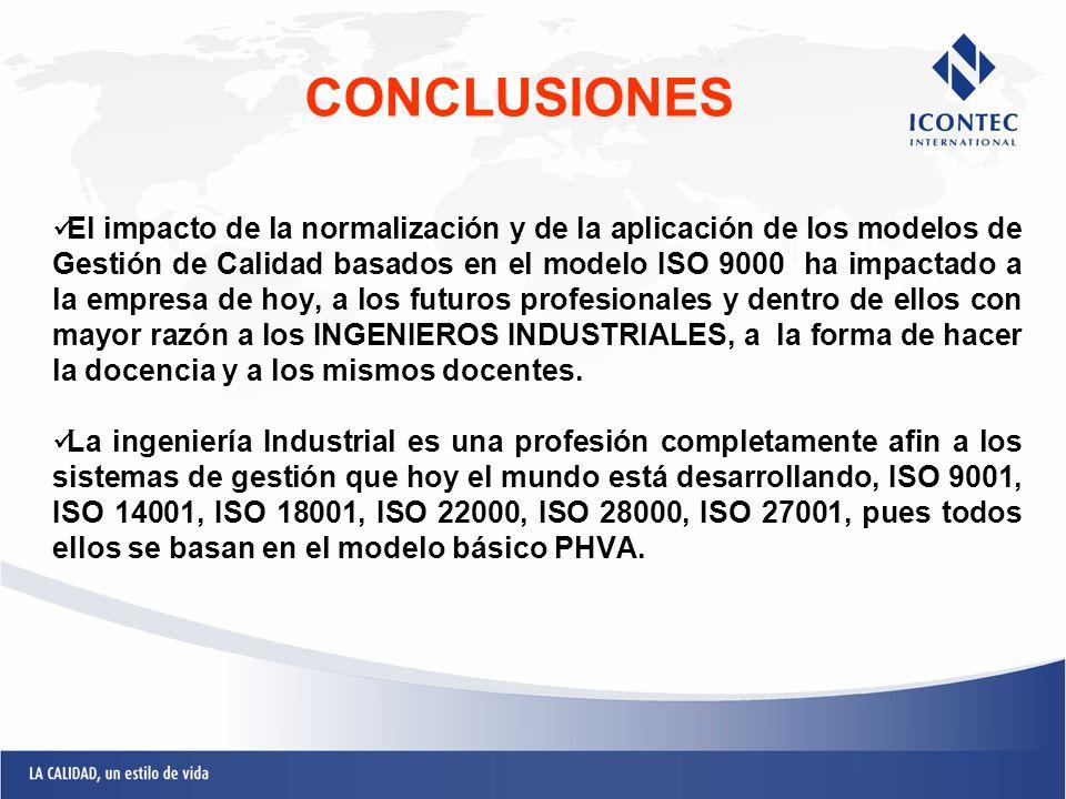 El impacto de la normalización y de la aplicación de los modelos de Gestión de Calidad basados en el modelo ISO 9000 ha impactado a la empresa de hoy,