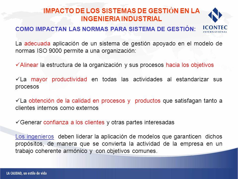 COMO IMPACTAN LAS NORMAS PARA SISTEMA DE GESTIÓN: La adecuada aplicación de un sistema de gestión apoyado en el modelo de normas ISO 9000 permite a un