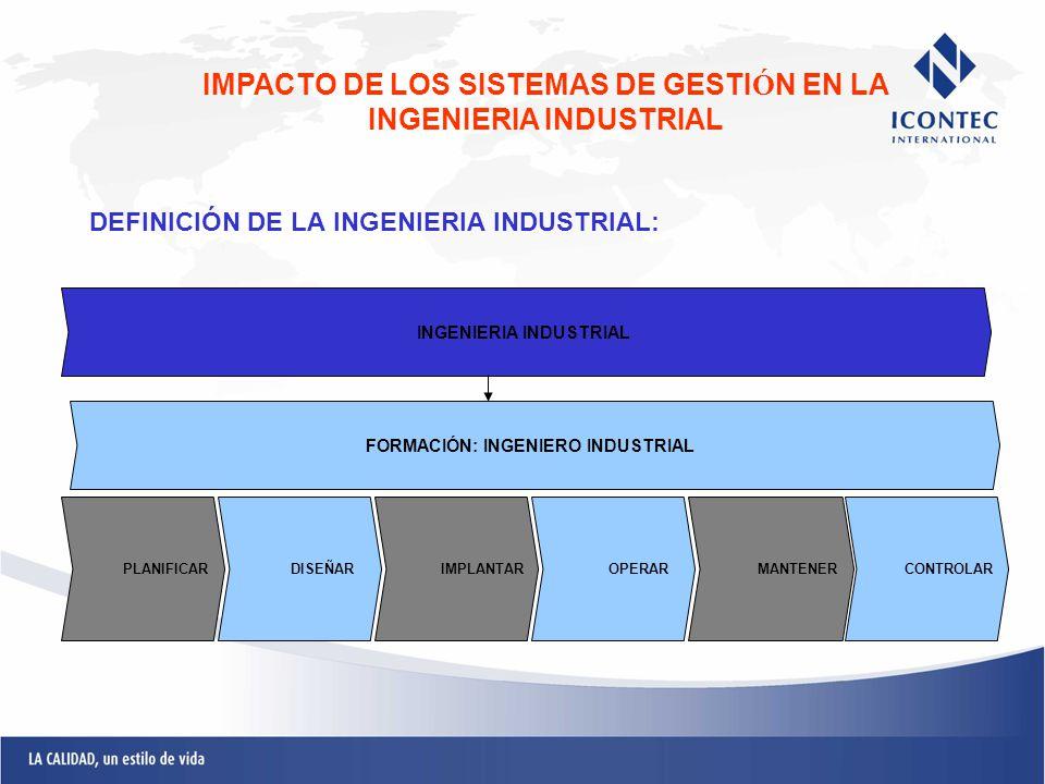DEFINICIÓN DE LA INGENIERIA INDUSTRIAL: IMPACTO DE LOS SISTEMAS DE GESTI Ó N EN LA INGENIERIA INDUSTRIAL INGENIERIA INDUSTRIAL PLANIFICARDISEÑARIMPLAN