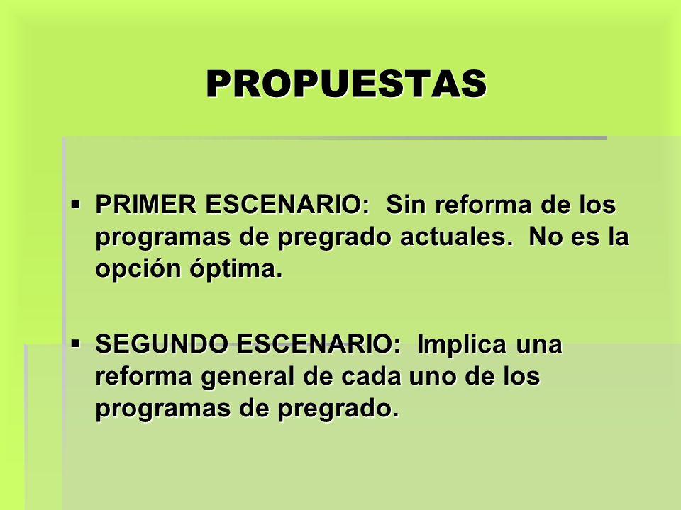 PROPUESTAS PRIMER ESCENARIO: Sin reforma de los programas de pregrado actuales. No es la opción óptima. PRIMER ESCENARIO: Sin reforma de los programas