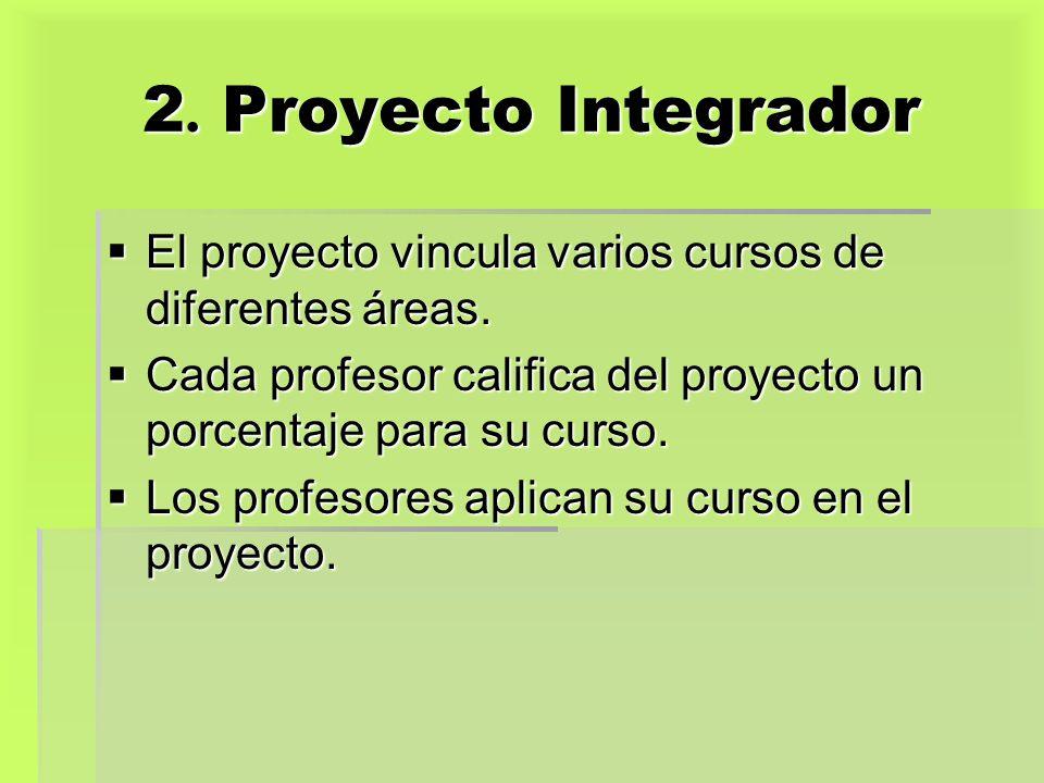 2. Proyecto Integrador El proyecto vincula varios cursos de diferentes áreas. El proyecto vincula varios cursos de diferentes áreas. Cada profesor cal