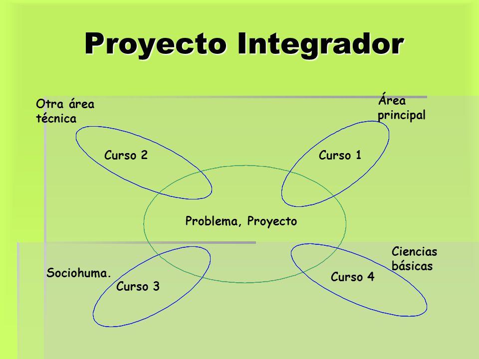 Proyecto Integrador Problema, Proyecto Curso 1 Curso 4 Curso 3 Curso 2 Área principal Otra área técnica Sociohuma. Ciencias básicas