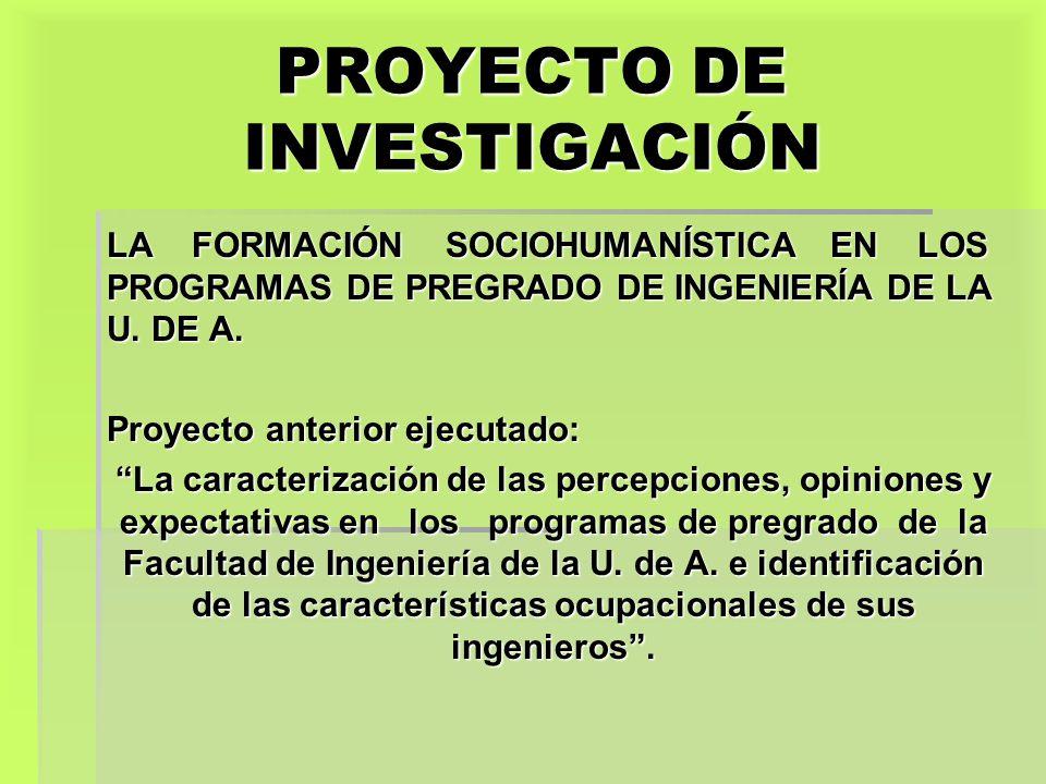 PROYECTO DE INVESTIGACIÓN LA FORMACIÓN SOCIOHUMANÍSTICA EN LOS PROGRAMAS DE PREGRADO DE INGENIERÍA DE LA U. DE A. Proyecto anterior ejecutado: La cara