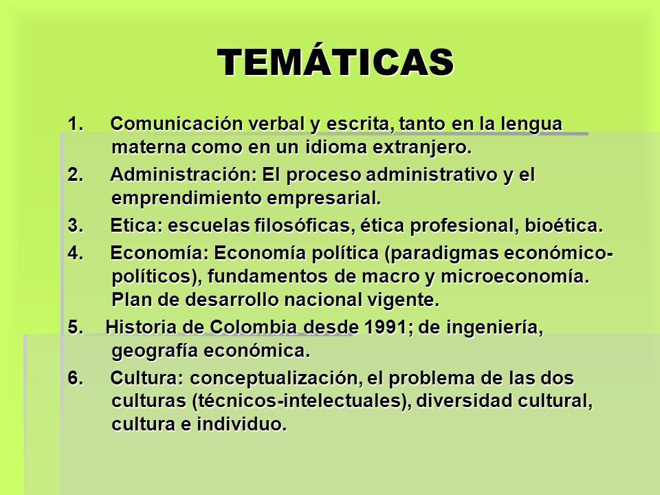 TEMÁTICAS 1. Comunicación verbal y escrita, tanto en la lengua materna como en un idioma extranjero. 2. Administración: El proceso administrativo y el