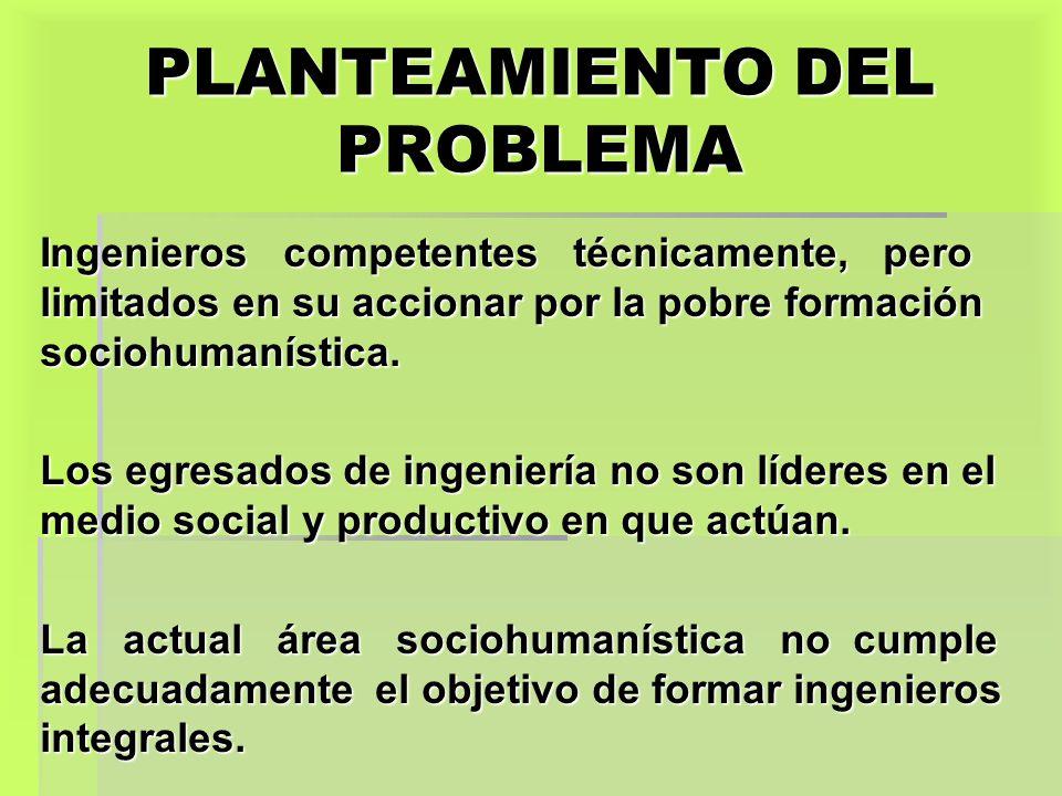 PLANTEAMIENTO DEL PROBLEMA Ingenieros competentes técnicamente, pero limitados en su accionar por la pobre formación sociohumanística. Los egresados d