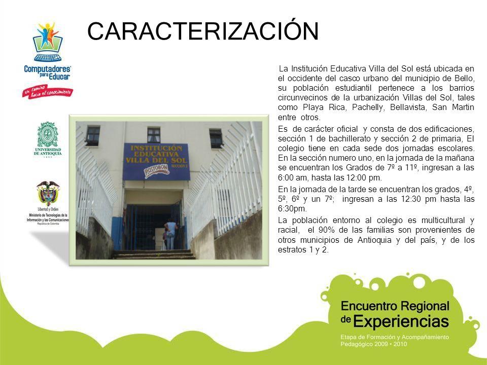 CARACTERIZACIÓN La Institución Educativa Villa del Sol está ubicada en el occidente del casco urbano del municipio de Bello, su población estudiantil