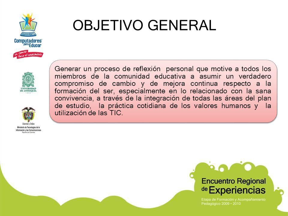 OBJETIVOS ESPECÍFICOS Integrar todas las áreas del currículo al Proyecto de Valores mediante la realización de reflexiones y actividades con hechos de vida, con ayuda de las TIC.