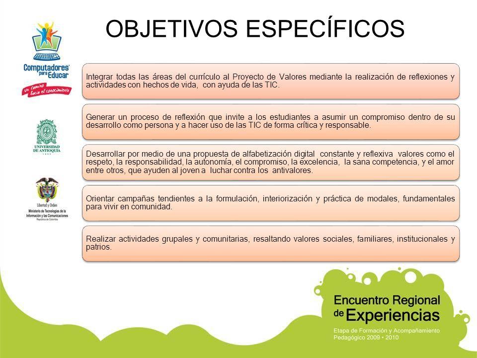 OBJETIVOS ESPECÍFICOS Integrar todas las áreas del currículo al Proyecto de Valores mediante la realización de reflexiones y actividades con hechos de