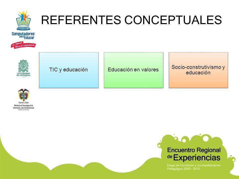 REFERENTES CONCEPTUALES TIC y educaciónEducación en valores Socio-construtivismo y educación