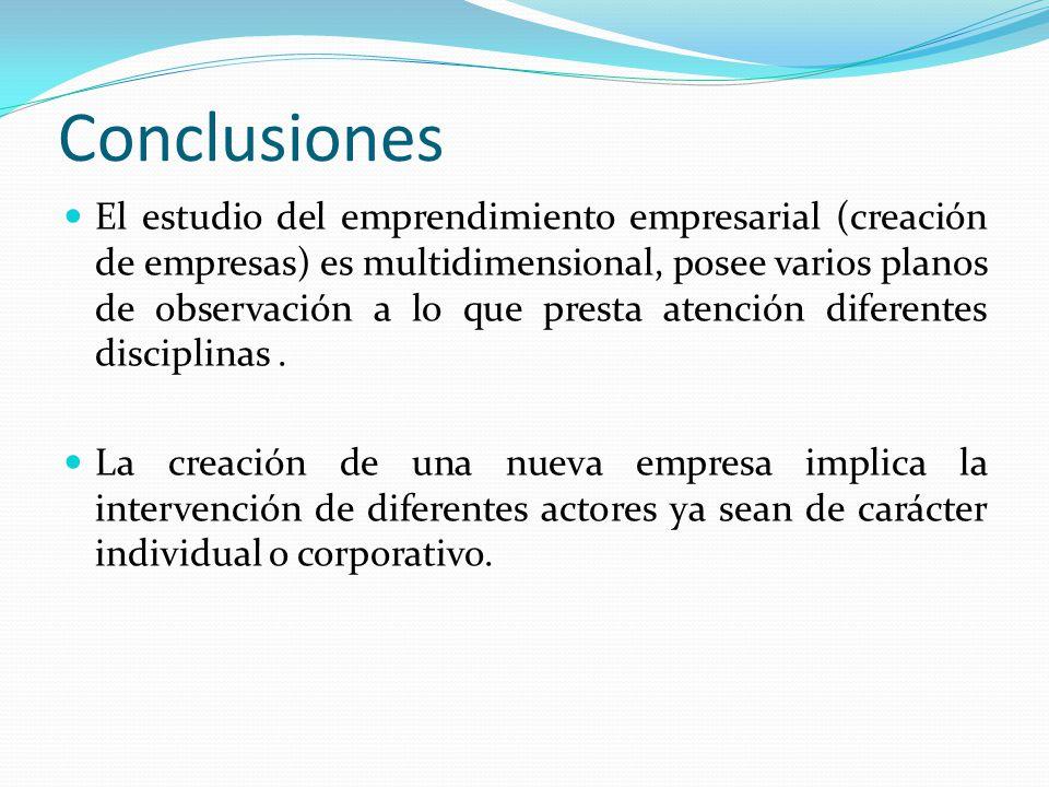 Conclusiones El estudio del emprendimiento empresarial (creación de empresas) es multidimensional, posee varios planos de observación a lo que presta atención diferentes disciplinas.