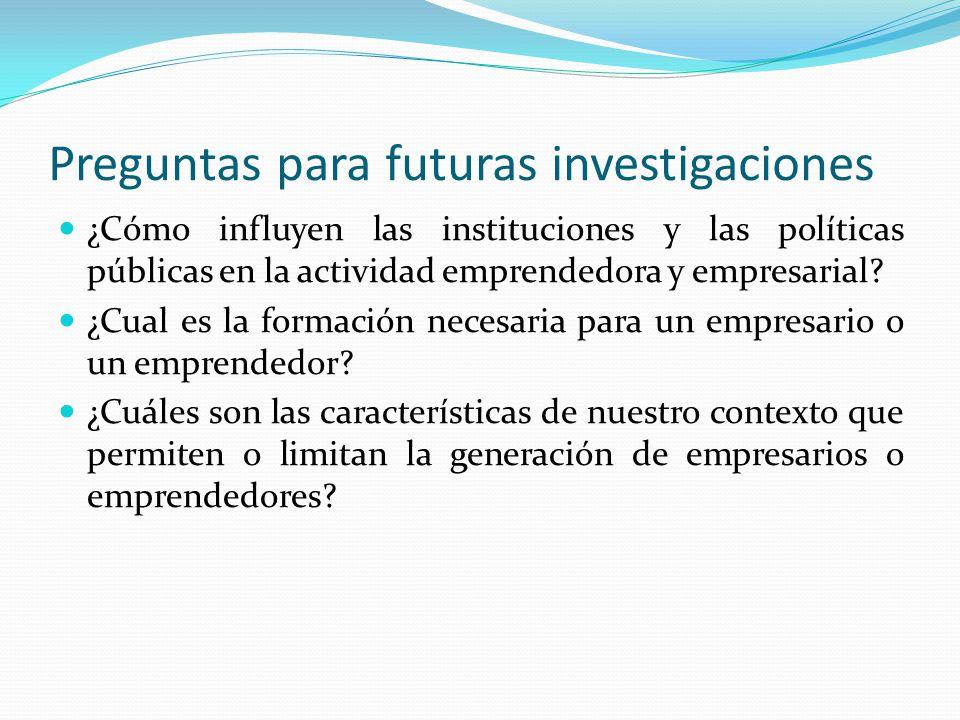 Preguntas para futuras investigaciones ¿Cómo influyen las instituciones y las políticas públicas en la actividad emprendedora y empresarial? ¿Cual es
