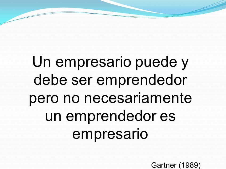 Un empresario puede y debe ser emprendedor pero no necesariamente un emprendedor es empresario Gartner (1989)