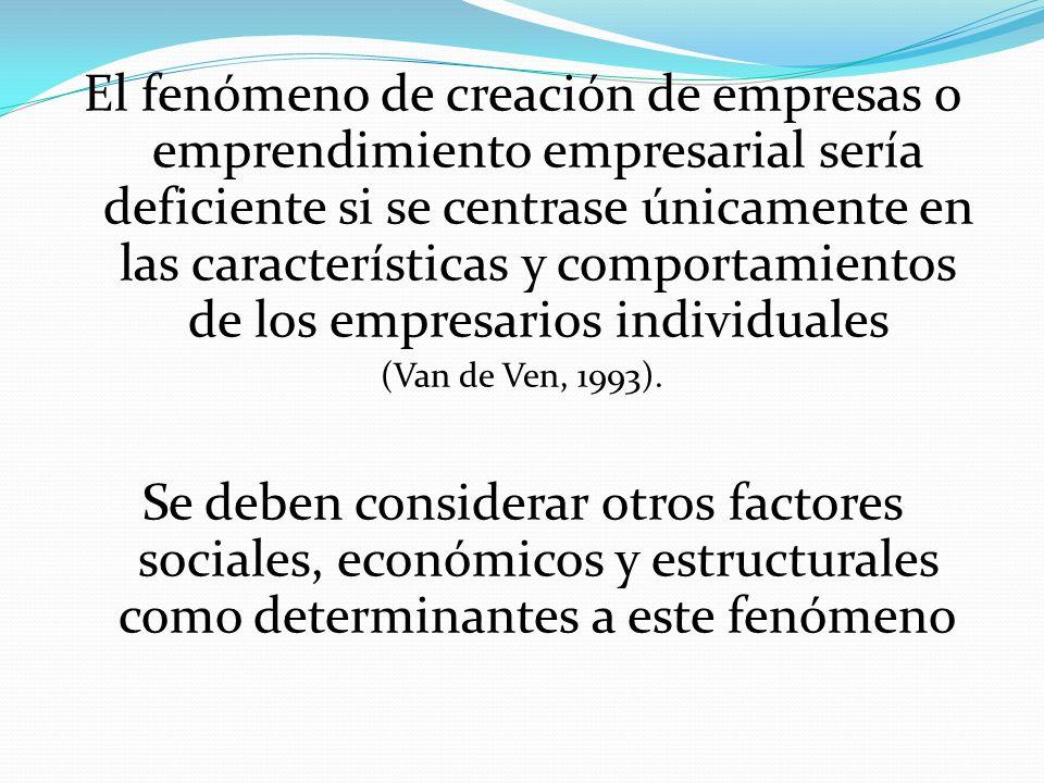 El fenómeno de creación de empresas o emprendimiento empresarial sería deficiente si se centrase únicamente en las características y comportamientos de los empresarios individuales (Van de Ven, 1993).