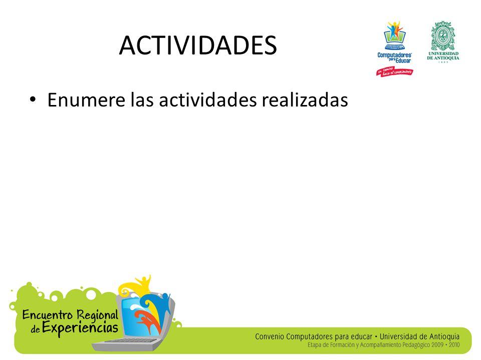 ACTIVIDADES Enumere las actividades realizadas
