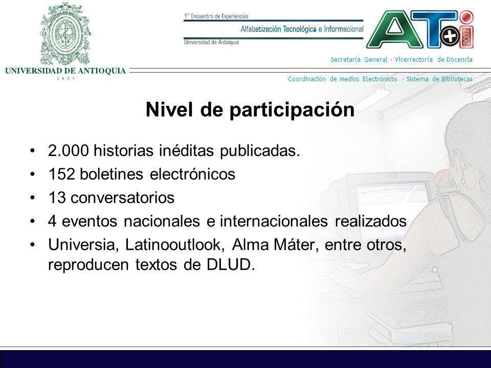 Secretaría General · Vicerrectoría de Docencia Coordinación de Medios Electrónicos · Sistema de Bibliotecas Nivel de participación 2.000 historias iné