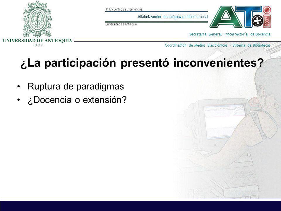 Secretaría General · Vicerrectoría de Docencia Coordinación de Medios Electrónicos · Sistema de Bibliotecas ¿La participación presentó inconvenientes?