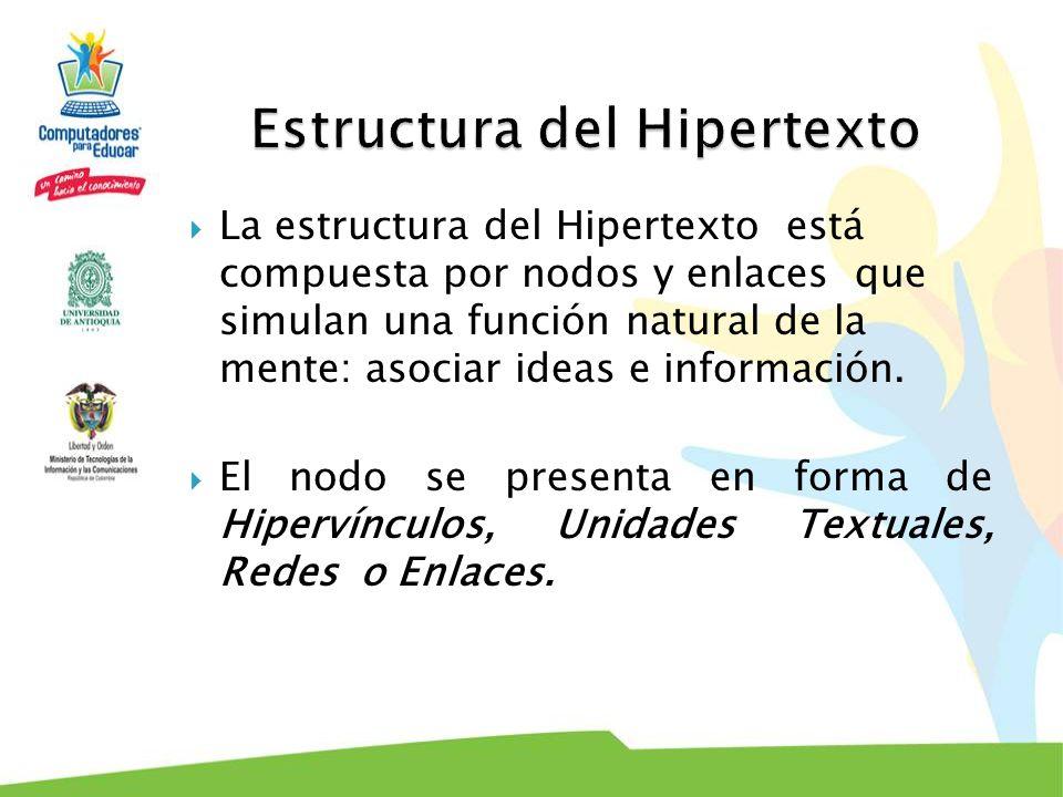 La estructura del Hipertexto está compuesta por nodos y enlaces que simulan una función natural de la mente: asociar ideas e información. El nodo se p