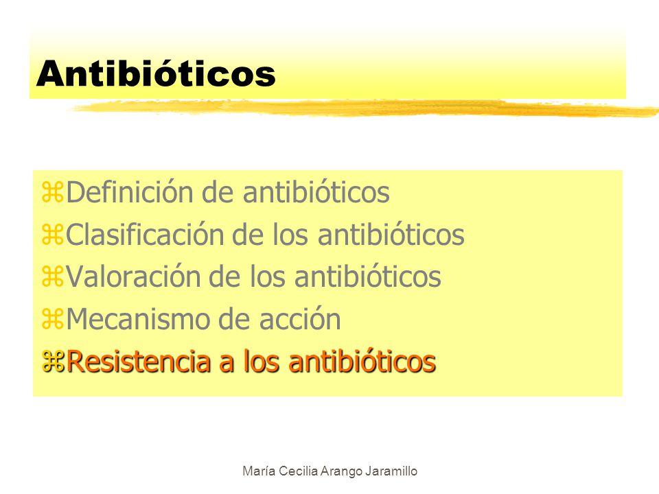 María Cecilia Arango Jaramillo Mecanismos de acción de los antibióticos zInterfieren con la construcción de la pared de peptidoglicano de la célula zInhiben ribosomas bacterianos zBloquean la síntesis de DNA