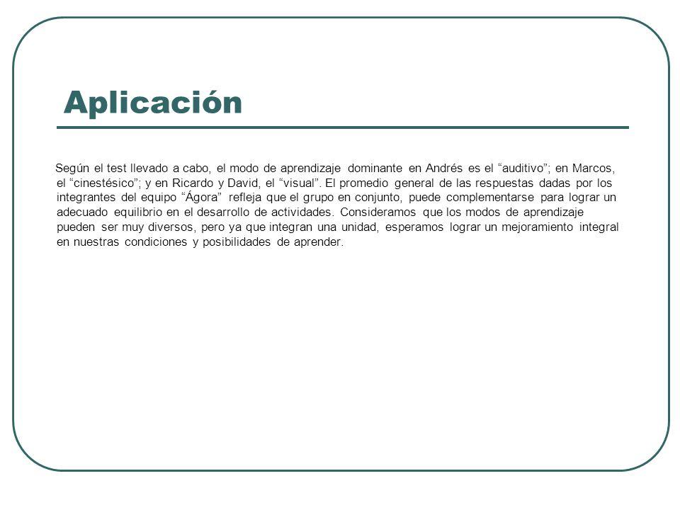 Aplicación Según el test llevado a cabo, el modo de aprendizaje dominante en Andrés es el auditivo; en Marcos, el cinestésico; y en Ricardo y David, el visual.