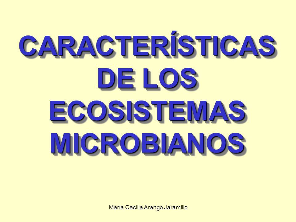 María Cecilia Arango Jaramillo CARACTERÍSTICAS DE LOS ECOSISTEMAS MICROBIANOS