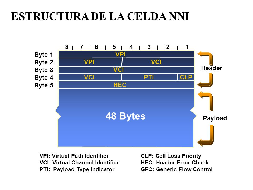 VPI: Virtual Path IdentifierCLP: Cell Loss Priority VCI: Virtual Channel IdentifierHEC: Header Error Check PTI: Payload Type IndicatorGFC: Generic Flow Control VPI VPI VCI VCI VCI PTI CLP HEC 87654321 Byte 1 Byte 2 Byte 3 Byte 4 Byte 5 Header Payload 48 Bytes ESTRUCTURA DE LA CELDA NNI