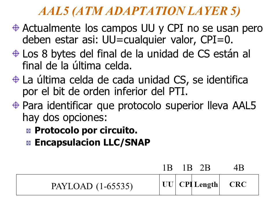AAL5 (ATM ADAPTATION LAYER 5) Actualmente los campos UU y CPI no se usan pero deben estar asi: UU=cualquier valor, CPI=0.