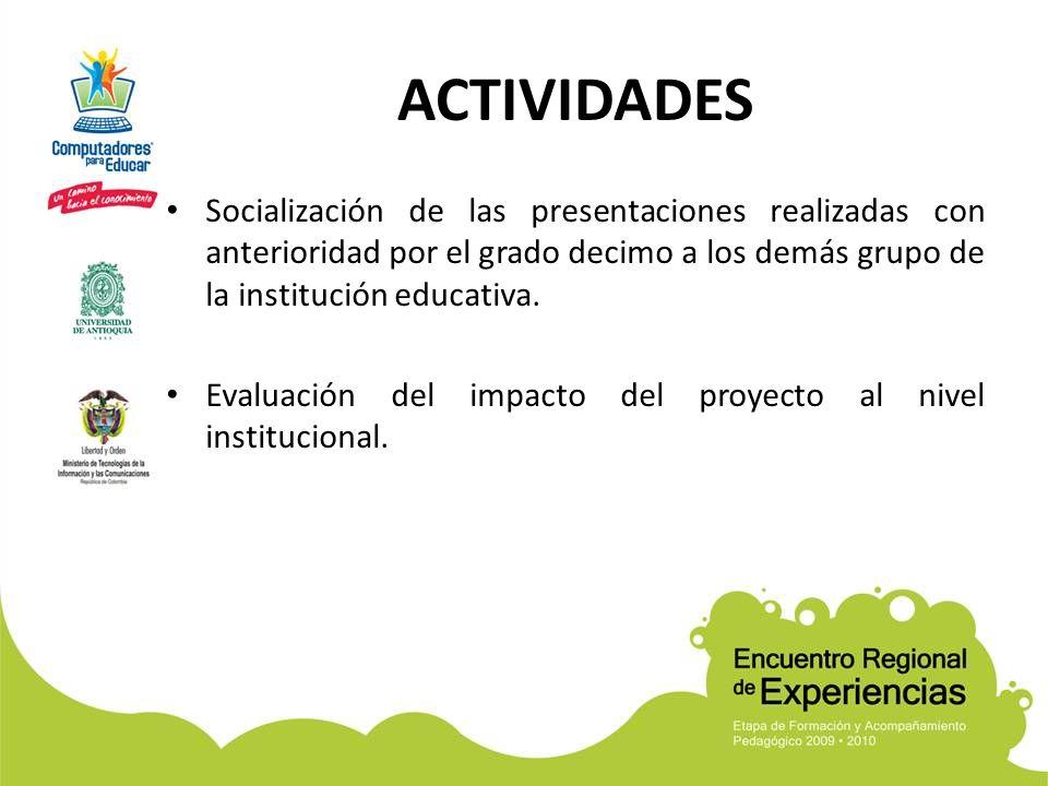 ACTIVIDADES Socialización de las presentaciones realizadas con anterioridad por el grado decimo a los demás grupo de la institución educativa. Evaluac