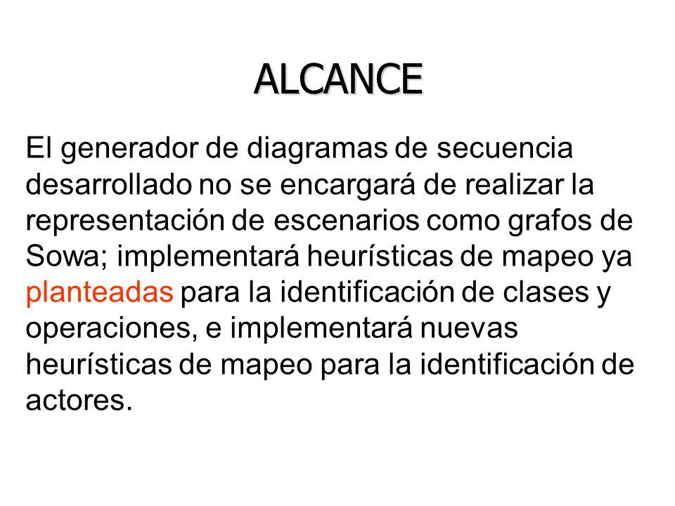 ALCANCE El generador de diagramas de secuencia desarrollado no se encargará de realizar la representación de escenarios como grafos de Sowa; implement