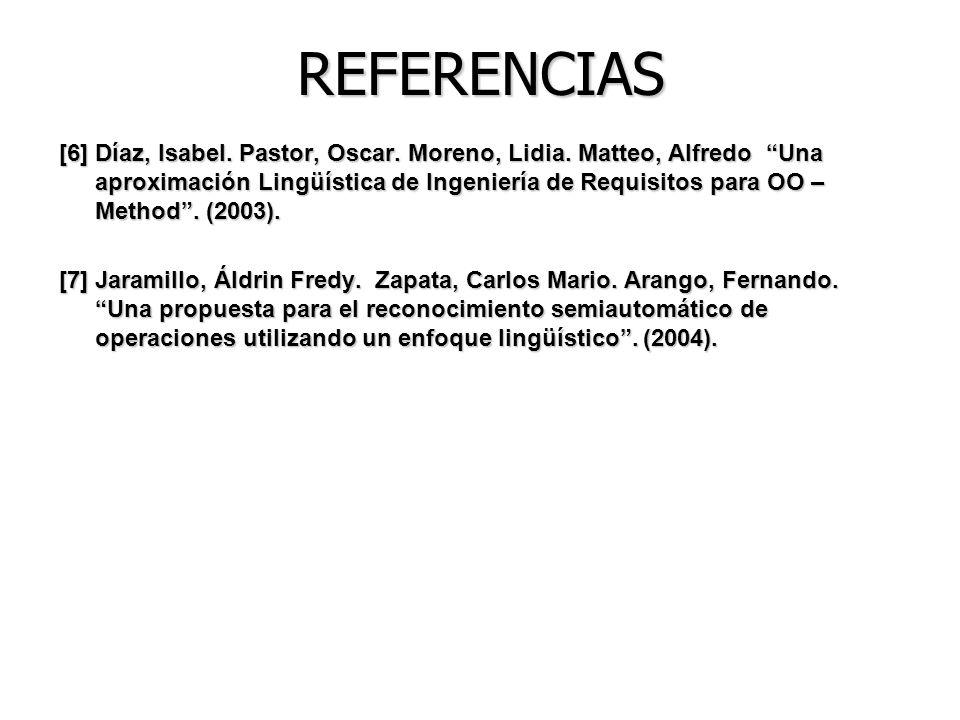 REFERENCIAS [6] Díaz, Isabel. Pastor, Oscar. Moreno, Lidia. Matteo, Alfredo Una aproximación Lingüística de Ingeniería de Requisitos para OO – Method.