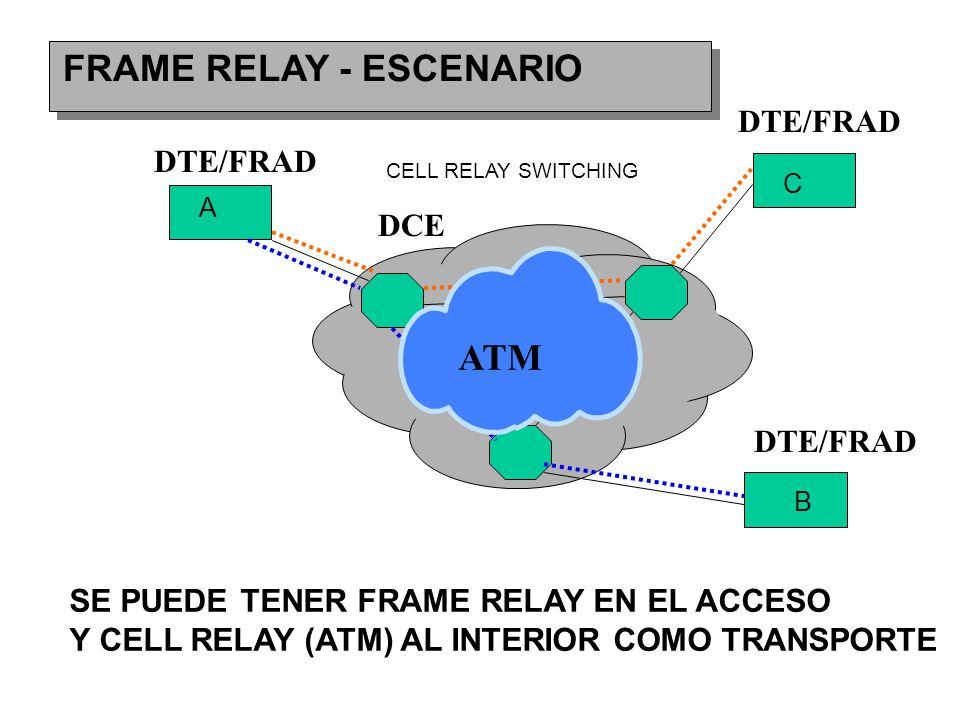 FRAME RELAY - ESCENARIO A B C DTE/FRAD DCE DTE/FRAD ATM SE PUEDE TENER FRAME RELAY EN EL ACCESO Y CELL RELAY (ATM) AL INTERIOR COMO TRANSPORTE CELL RELAY SWITCHING
